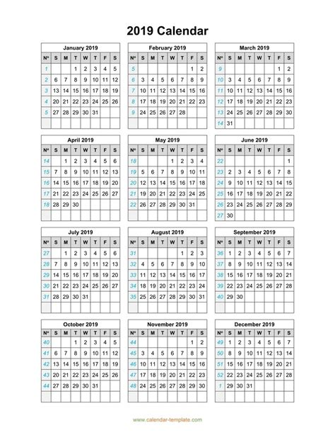 one page annual calendar printable 2018 calendar template