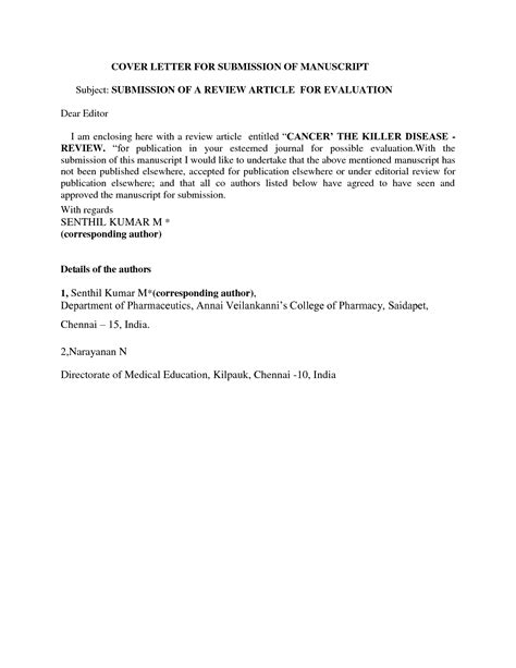 Cover Letter Research Journal Manuscript Cover Letter Sle Best Letter Sle Free