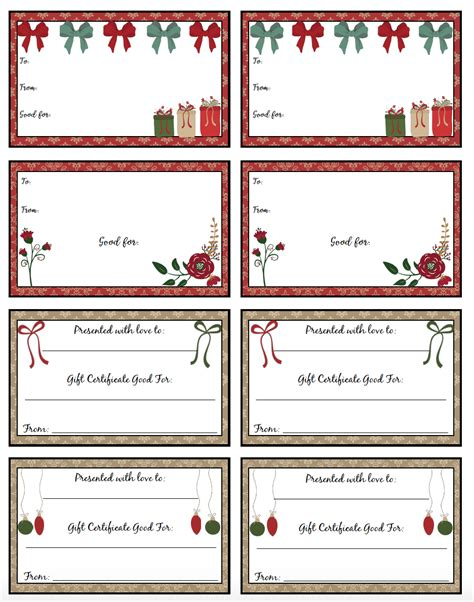 Free Printable Christmas Gift Certificates 7 Designs Pick Your Favorites Gift Template 2