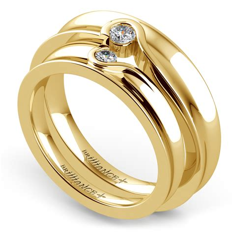 Wedding Rings Yellow by Matching Bezel Concave Wedding Ring Set In