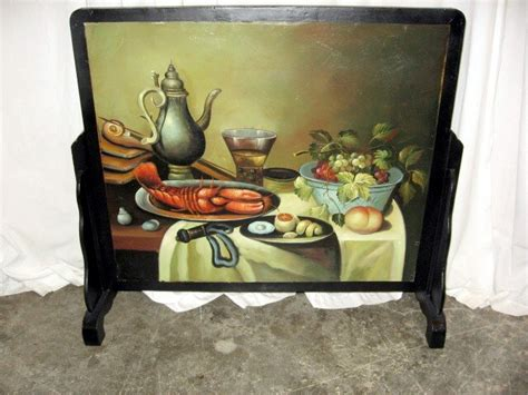 great looking painted fireplace screen 25 x 28 for