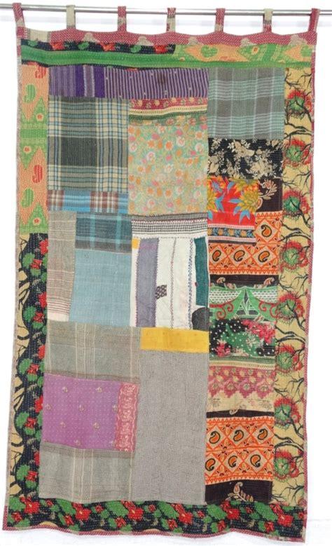 handmade vintage kantha patchwork curtain patchwork