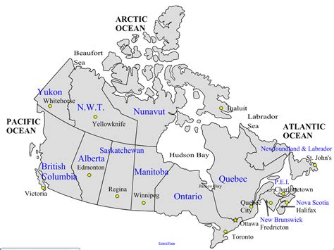 map of canada to label provinces and capitals images