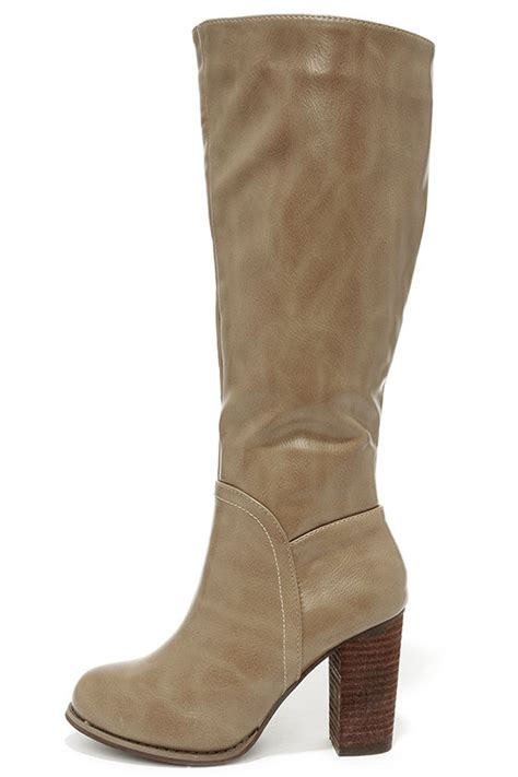 taupe boots knee high boots high heel boots 49 00