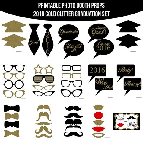 printable photo booth props graduation instant download grad gold glitter 2016 printable photo