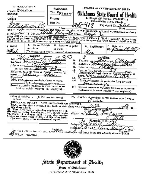 Oklahoma Birth Records Birth Certificate Oklahoma