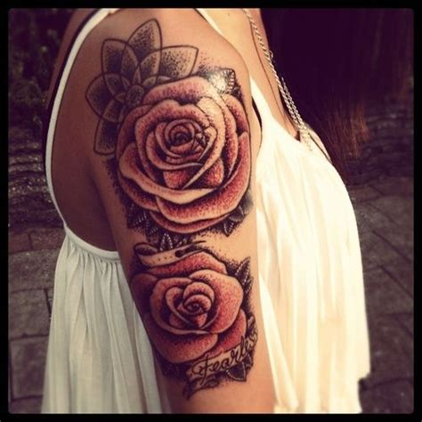 roses tattoo on arm vintage shoulder arm tattoos