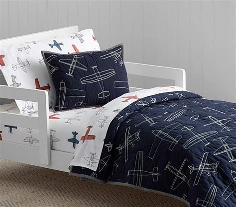 airplane crib bedding sets braden airplane quilted toddler bedding pottery barn