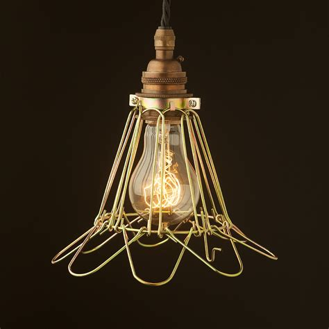 wire cage pendant light brass socket wire cage pendant