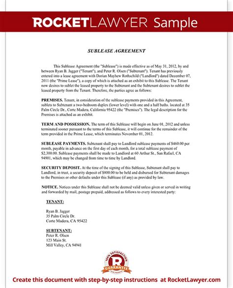 Sublease Agreement Form Sublet Contract Template With Sublease Contract Template