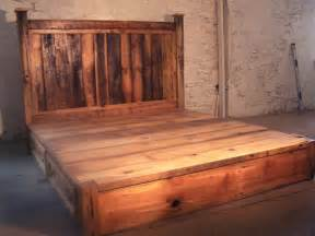 Rustic Wood Bed Frame With Storage Reclaimed Rustic Pine Platform Bed With By Barnwoodfurniture