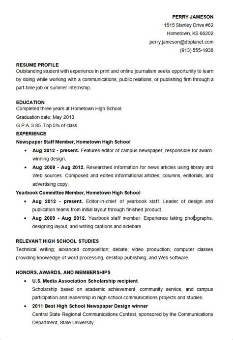 High School Resume Template by Microsoft Word Resume Template 49 Free Sles