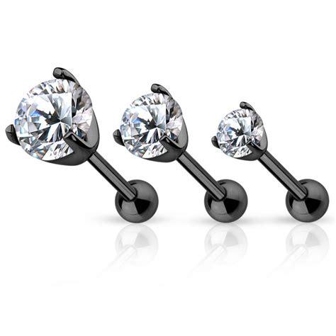 piercing cartilage h 233 lix noir gemme