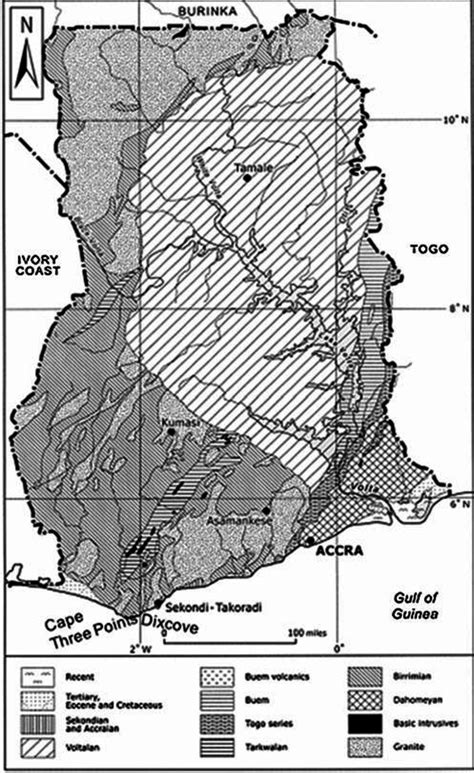 Geology of the coastal zone of Ghana (source: Boateng 1970