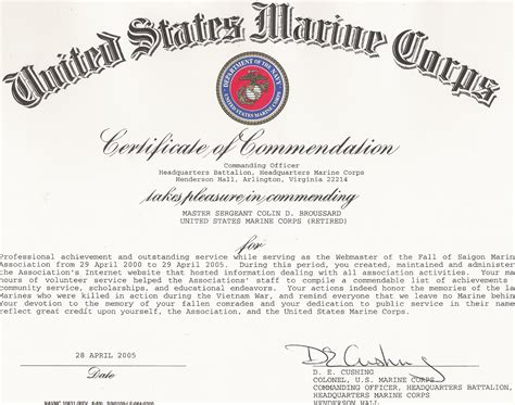usmc certificate of commendation template certificates of commendation