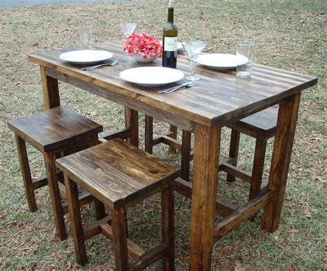 Diy Outdoor Bistro Table Bar Table And Stools Pub Table Wood Bar By Blueridgewoodworking