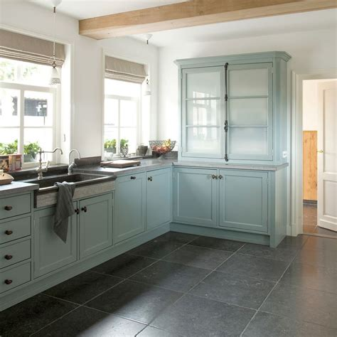 slate blue kitchen cabinets tasty turquoise kitchens love the large grey slate tiles