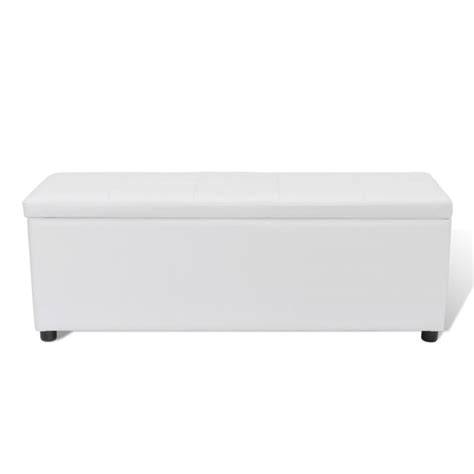 White Ottoman Storage Faux Leather Storage Ottoman Bench In White 118cm Buy Leather Ottomans