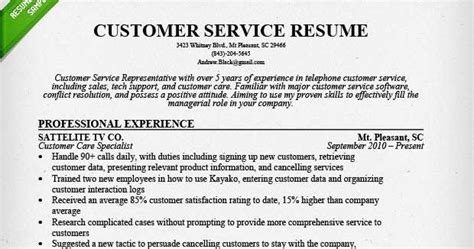 resume sles customer service jobs sle resumes