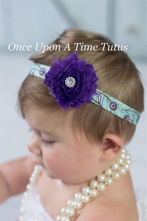 Headband Baby Cantik Purple Flower purple peacock print shabby flower headband newborn baby