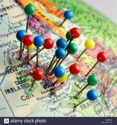 map pins globe with concentrated map pins on the uk and surrounding countaries stock photo royalty free