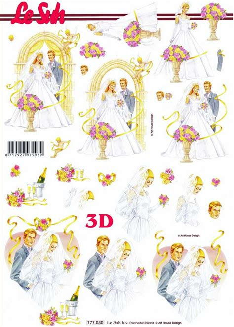 Le Suh Decoupage - wedding day le suh 3d decoupage sheet