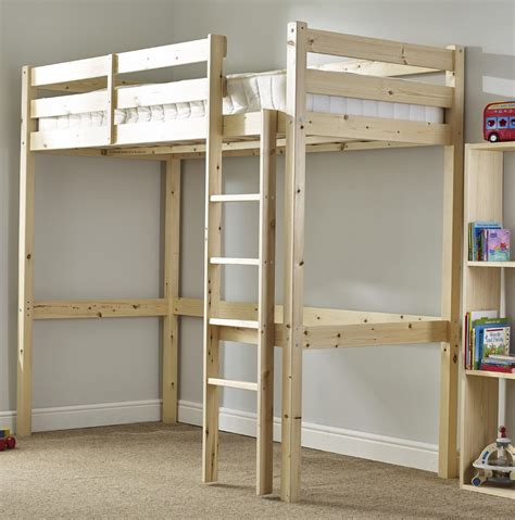 Bunk Bed Single Icarus 3ft Single Length Solid Pine High Sleeper Bunk Bed