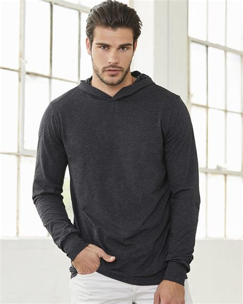 sleeved hooded t shirt canvas canvas unisex sleeve hooded t shirt
