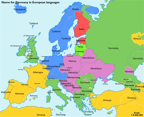 europe map with country names map of names for germany in different languages grouped