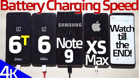 oneplus 6t vs iphone xs max vs note 9 vs op6 battery charging speed test surprising end