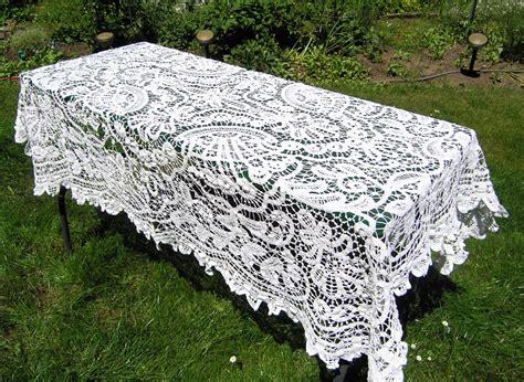 Funky Drapes Vintage White Lace Crochet Tablecloth Vintage Rectangular