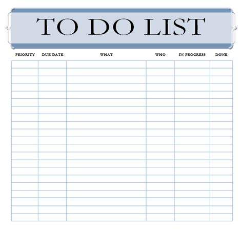 Task List Templates Free To Do List Task List Template