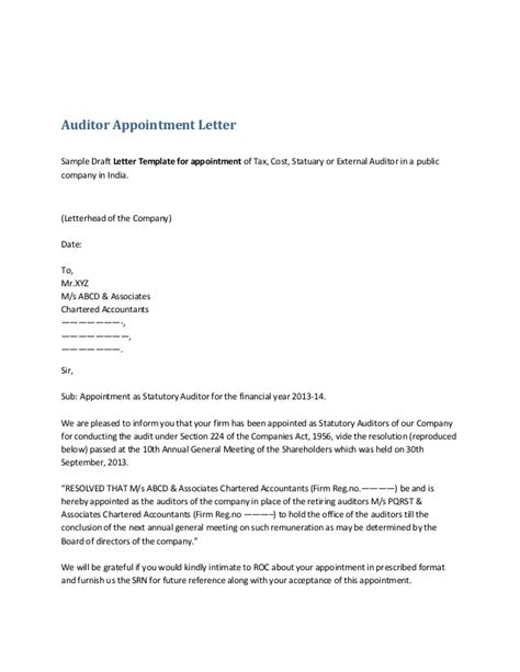 employee appointment letter sle india auditor appointment letter