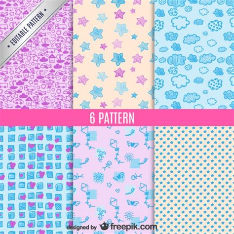 download pattern cute cute patterns set vector free download