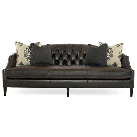 Regency Leather Sofa by Juliet Regency Mocha Wood Black Leather Tufted Sofa Kathy Kuo Home