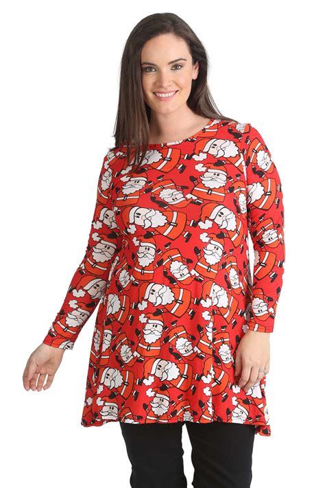 new ladies plus size swing top womens santa christmas