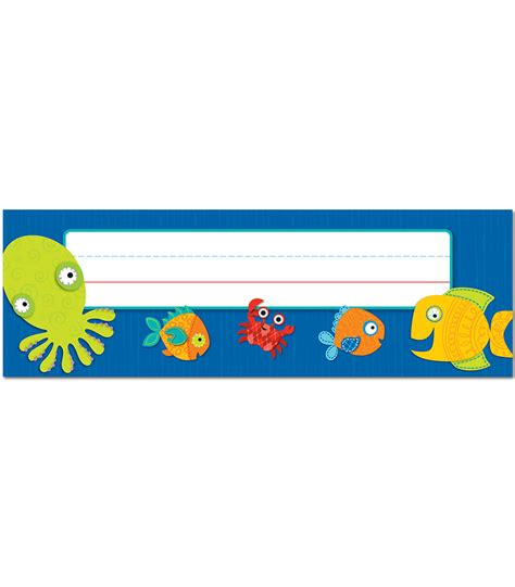 ocean themed desk name tags set of cubbies and work seaside splash nameplates grade pk 5