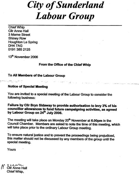 Letter For Manpower Supply Neil Herron Sunderland Labour Letter That Launched The National