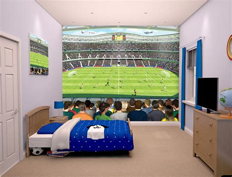 Cool Boy Bedroom Ideas football stadium bedroom mural 10ft x 8ft walltastic