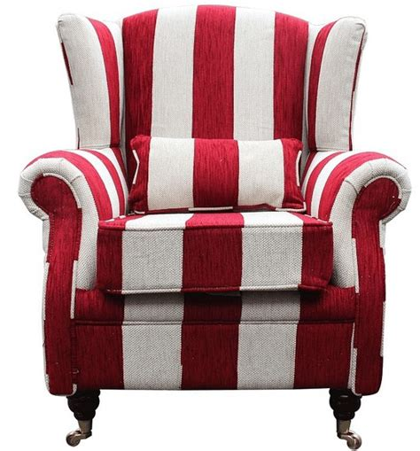 red striped armchair wing chair fireside high back armchair harrison stripe ruby
