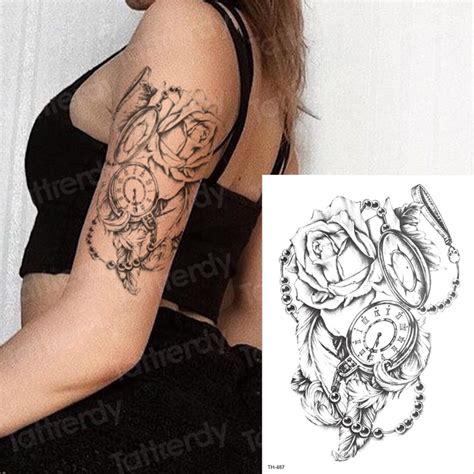 Temporary Tattoo Rose Compass Temporary Sleeve Tattoos Arm