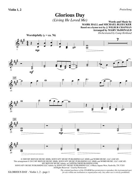 s day song instrumental glorious day living he loved me violin 1 2 sheet