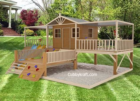 Elevated Cubby House Plans Timbertop Mansion Cubby House Playhouse Playground Equipment