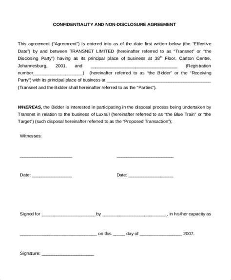 Non Disclosure Agreement Sle Form 10 Sle Exle Format Confidentiality Non Disclosure Agreement Template