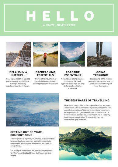 mint green white travel newsletter graphic design