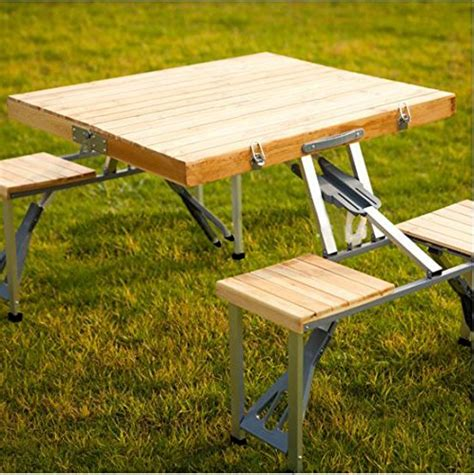 Folding Wooden Picnic Table Plixio Portable Folding Wooden Picnic Table With 4 Bench Seats Desertcart