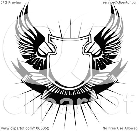 clipart shield with wings 2 royalty free vector