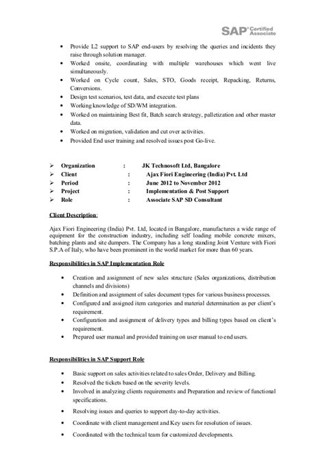 sle resume for sap sd consultant abhishek sengupta sap sd resu and d norris resume feb sap