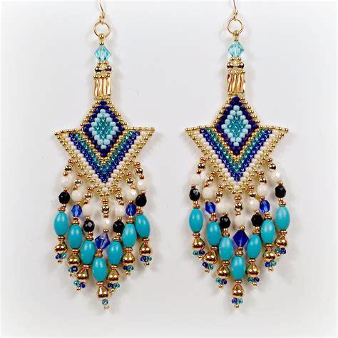 modern tribal ethic seed bead earrings chandelier earrings