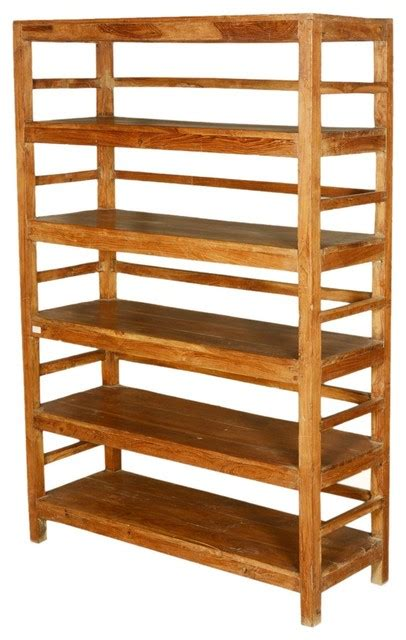 country reclaimed wood freestanding 5 shelf bookcase